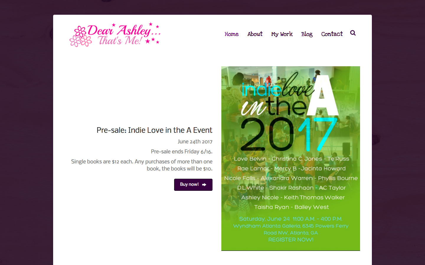 Web Design & Hosting for Dear Ashley... That's Me!